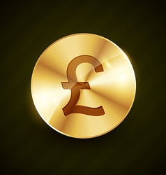Gold pound money symbol coin design vector