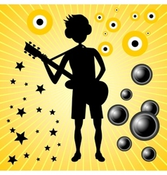 Young guy with bass guitar vector