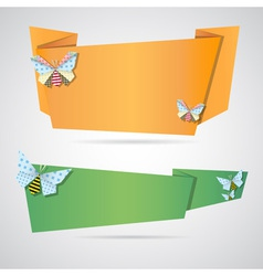 Origami notepaper folded note sheets vector
