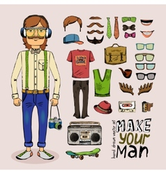 Sketch male hipster set vector
