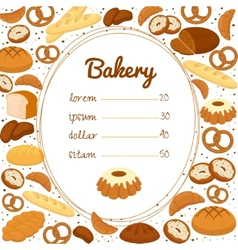 Bakery menu or price poster vector