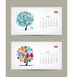 Calendar 2015 march and april months art vector