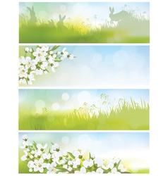 Spring banners nature vector