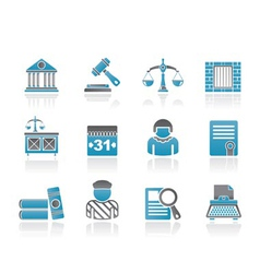 Justice and judicial system icons vector