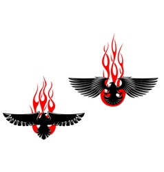 Black eagles with tribal flames vector
