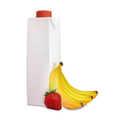 Banana strawberry juice in carton tetra pack vector