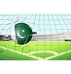 A ball hitting a goal with the pakistan flag vector