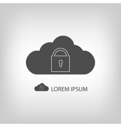 Grey cloud with lock vector