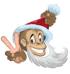 Monkey in santa hat showing two fingers - gesture vector