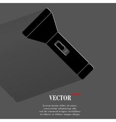 Flashlight  flat modern web button with long vector