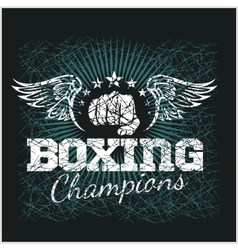 Boxing champion - vintage artwork for t vector