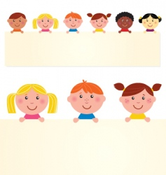 Multicultural kids banner vector