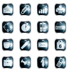 Square black high-gloss office buttons vector