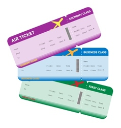Three classes of blank flight boarding pass vector