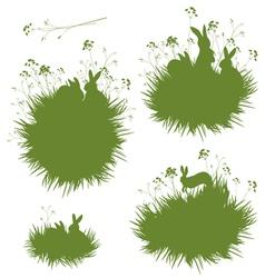 Grass rabbits banners vector