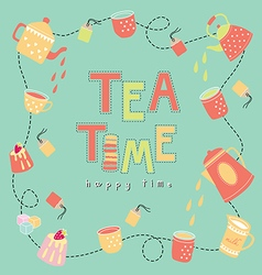 Tea time happy time color background vector