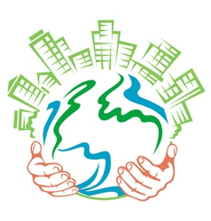 Pure earth in people hands vector