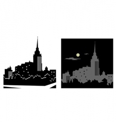 White and black cityscape vector