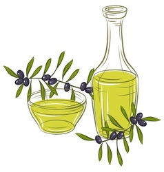 With black olives and bottle of oil vector