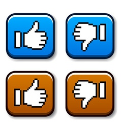 Pixel thumb up and down buttons vector