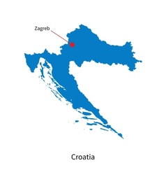 Detailed map of croatia and capital city zagreb vector