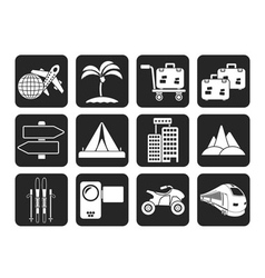 Silhouette holiday travel and transportation icons vector