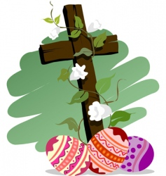 Easter eggs with white flower vector