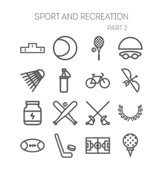 Set of simple icons for sport recreation web vector