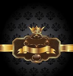 Vintage golden emblem on black floral background vector