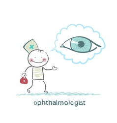 Ophthalmologist thinks about eye vector