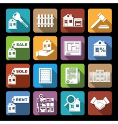 Real estate icons flat vector