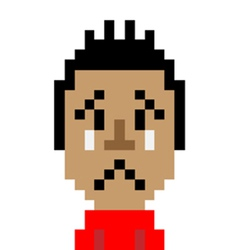 Red shirt man cry emoticon pixel-art character vector
