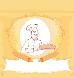 Baker cartoon character presenting freshly baked vector