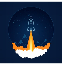 Space rocket flies into space vector