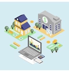 Bank credit and home loan concept with isometric vector