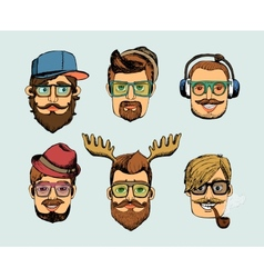 Hipster man heads avatars vector