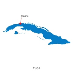 Detailed map of cuba and capital city havana vector