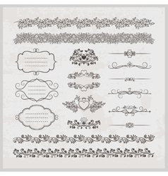 Page decoration borders frames and hearts vector