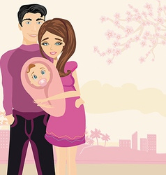 Happy young couple with newborn baby vector