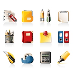 Office supply icons vector