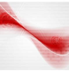 Red wavy tech abstract background vector