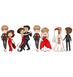 A group of couples vector