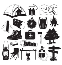 Camping icons collection vector