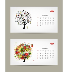 Calendar 2015 november and december months art vector