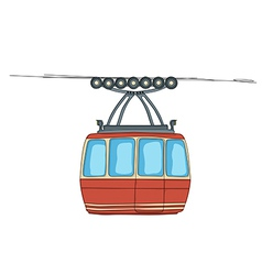 Cable-car on ropeway vector