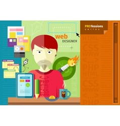 Male web designer with tablet on workplace vector