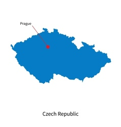Detailed map of czech republic and capital city vector