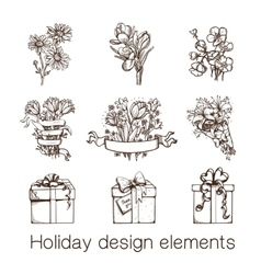 Presents and flowers sketch collection vector