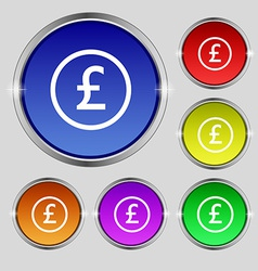 Pound sterling icon sign round symbol on bright vector