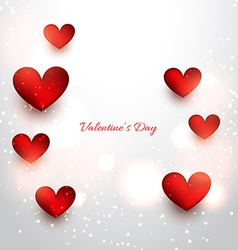 Valentine red hearts in attractive background vector